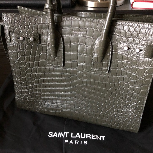 8a1ab91bc7 Saint Laurent Sac de Jour Medium olive croc-emboss